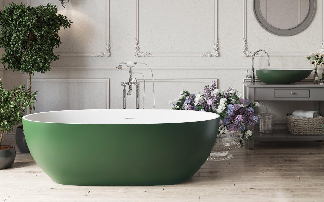 Corelia Moss Green Отдельностоящая Каменная Ванна Бело-Зеленая picture № 0