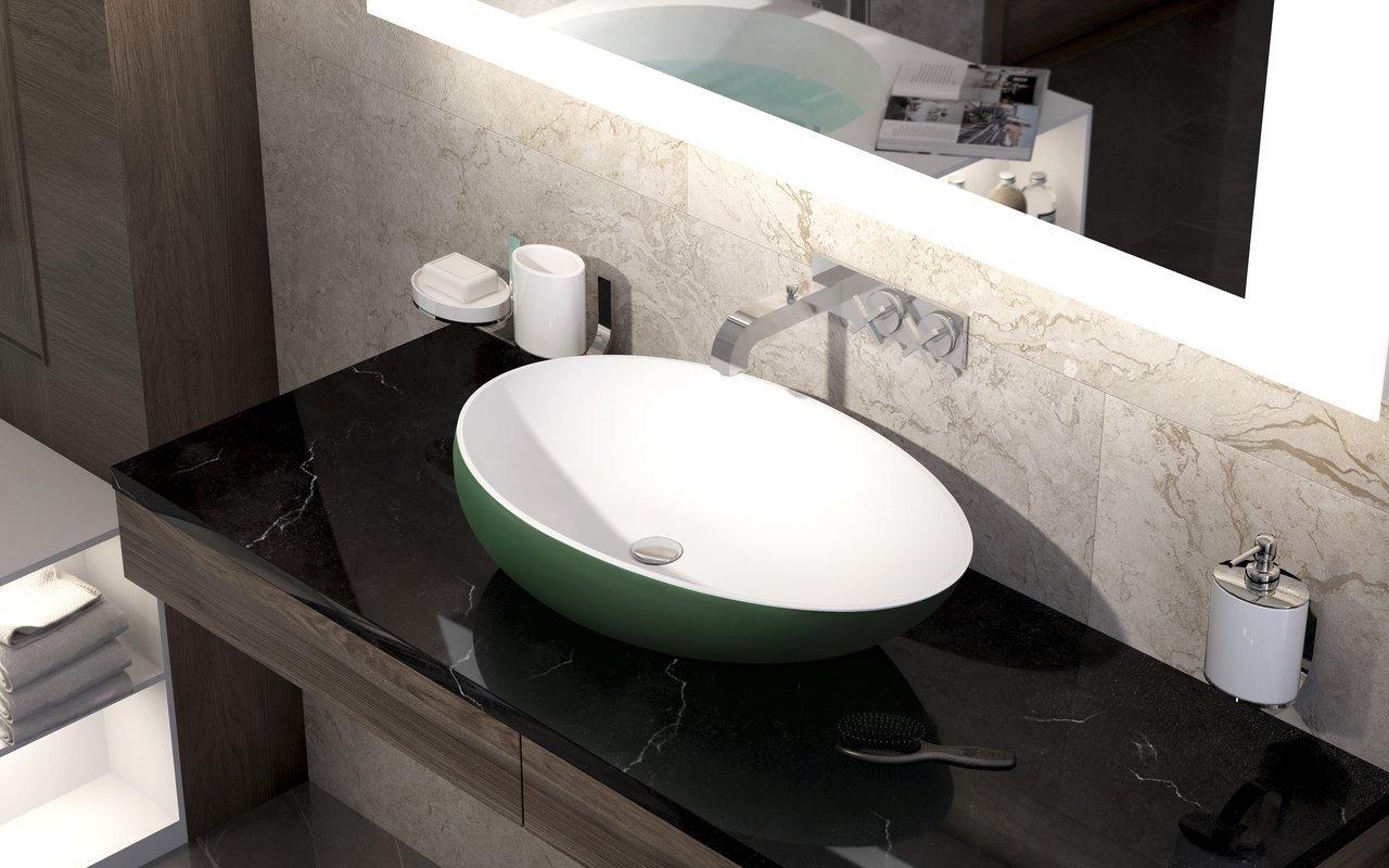 Spoon 2 Накладная Каменная Раковина Зелено-Белая picture № 0
