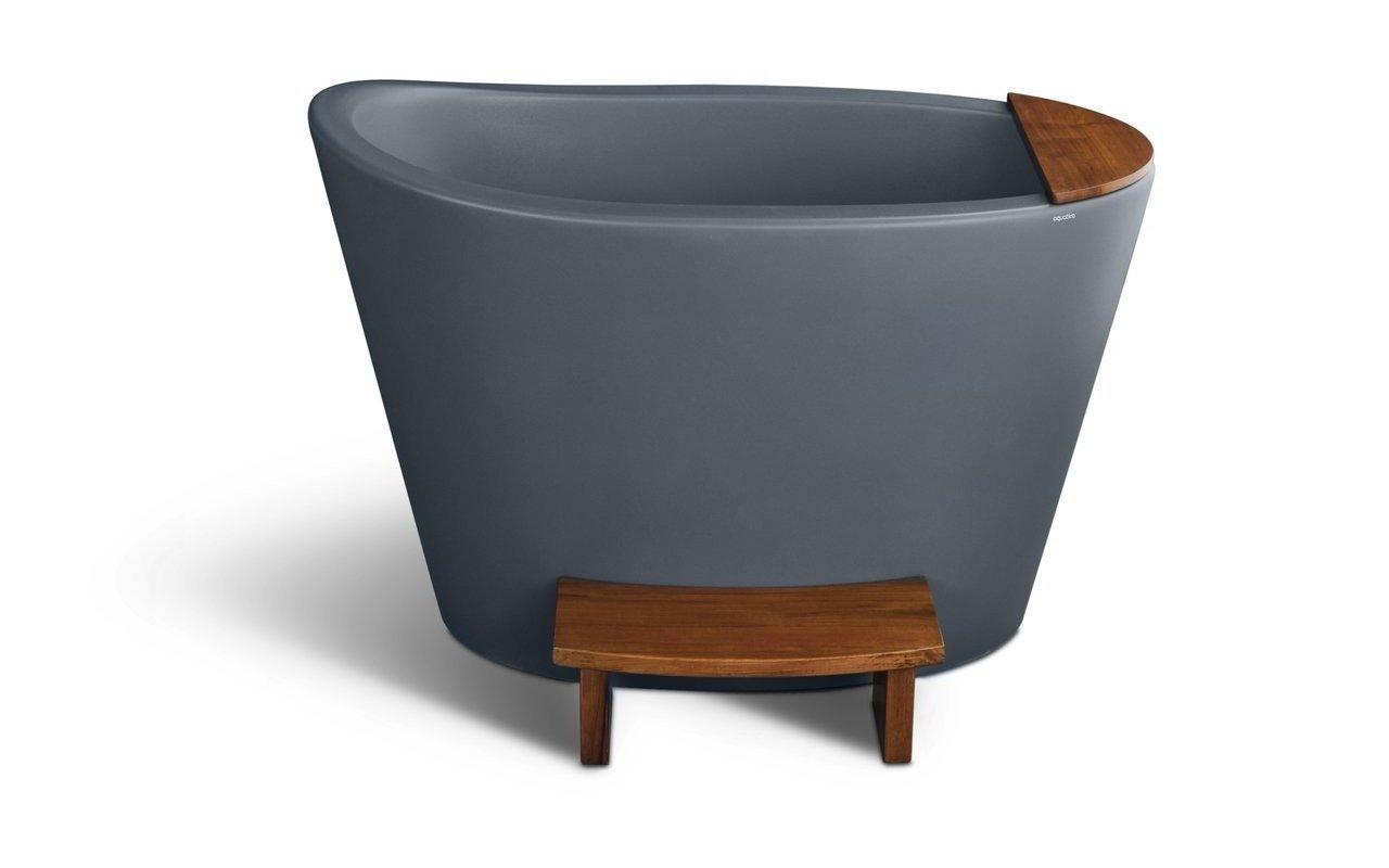 True Ofuro Concrete Textures Сидячая Каменная Ванна в Японском Стиле Темно-серая picture № 0