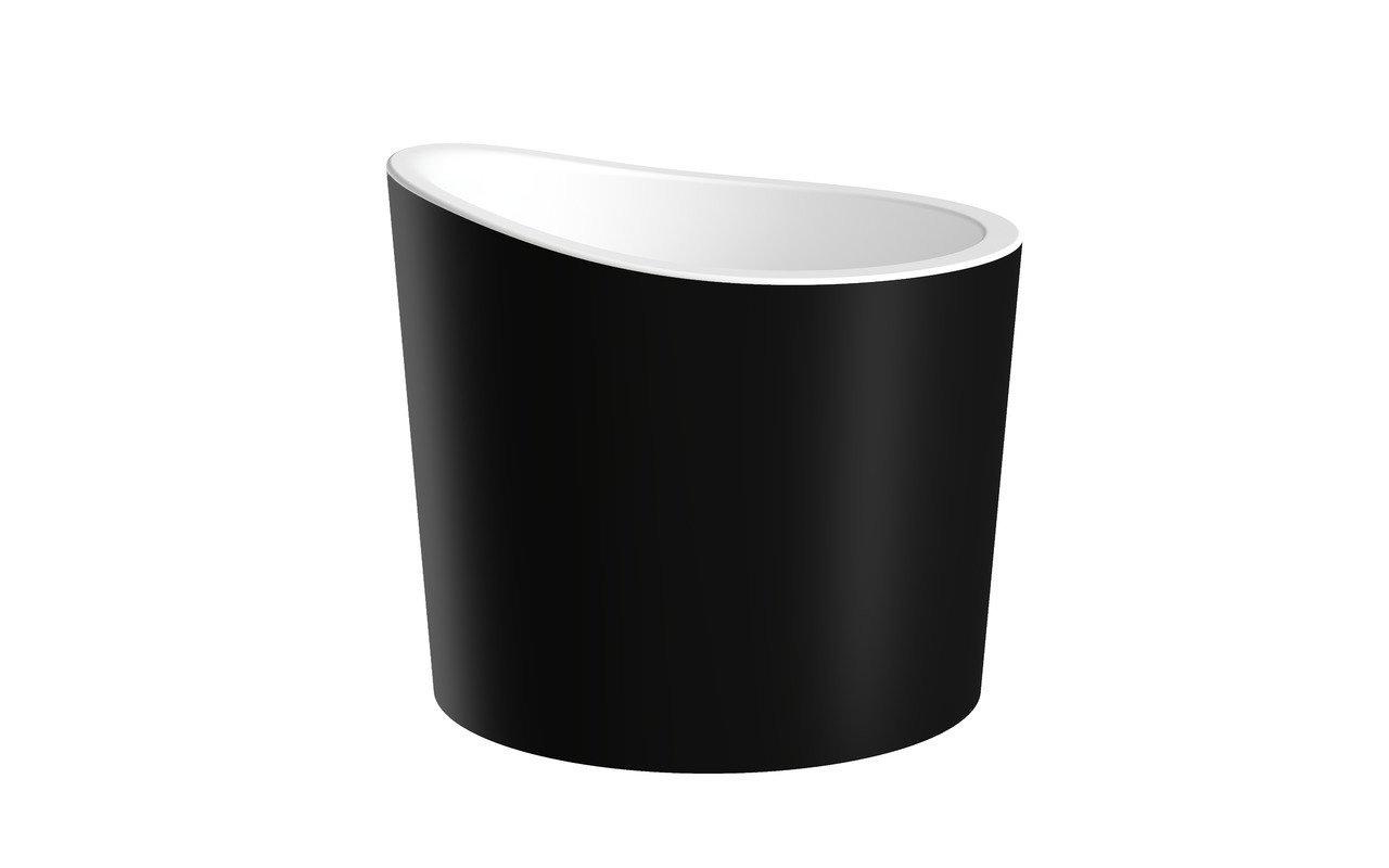 True Ofuro Mini Сидячая Каменная Ванна в Японском Стиле Черно-Белая picture № 0