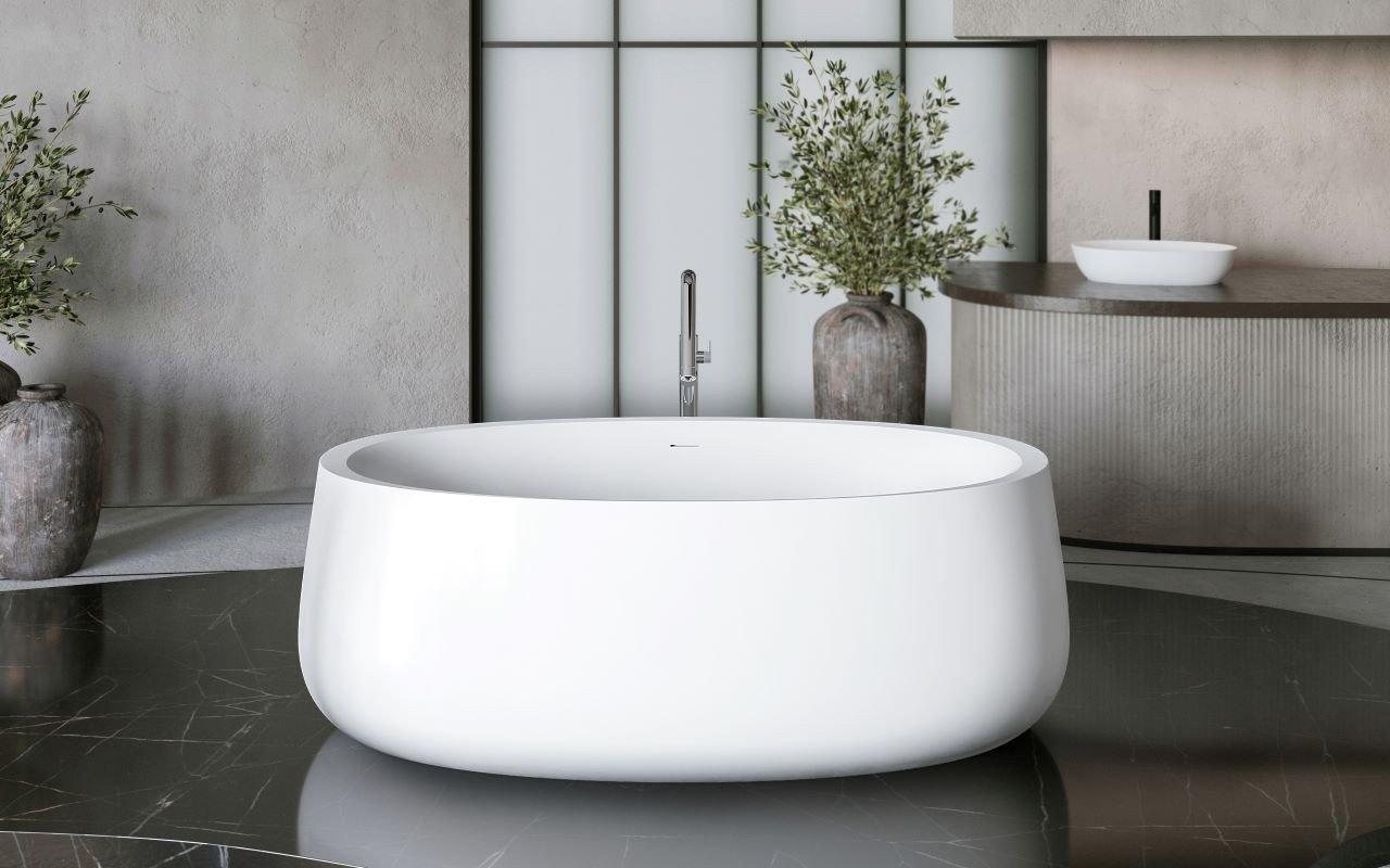 Aquatica Leah белая отдельностоящая каменная ванна picture № 0