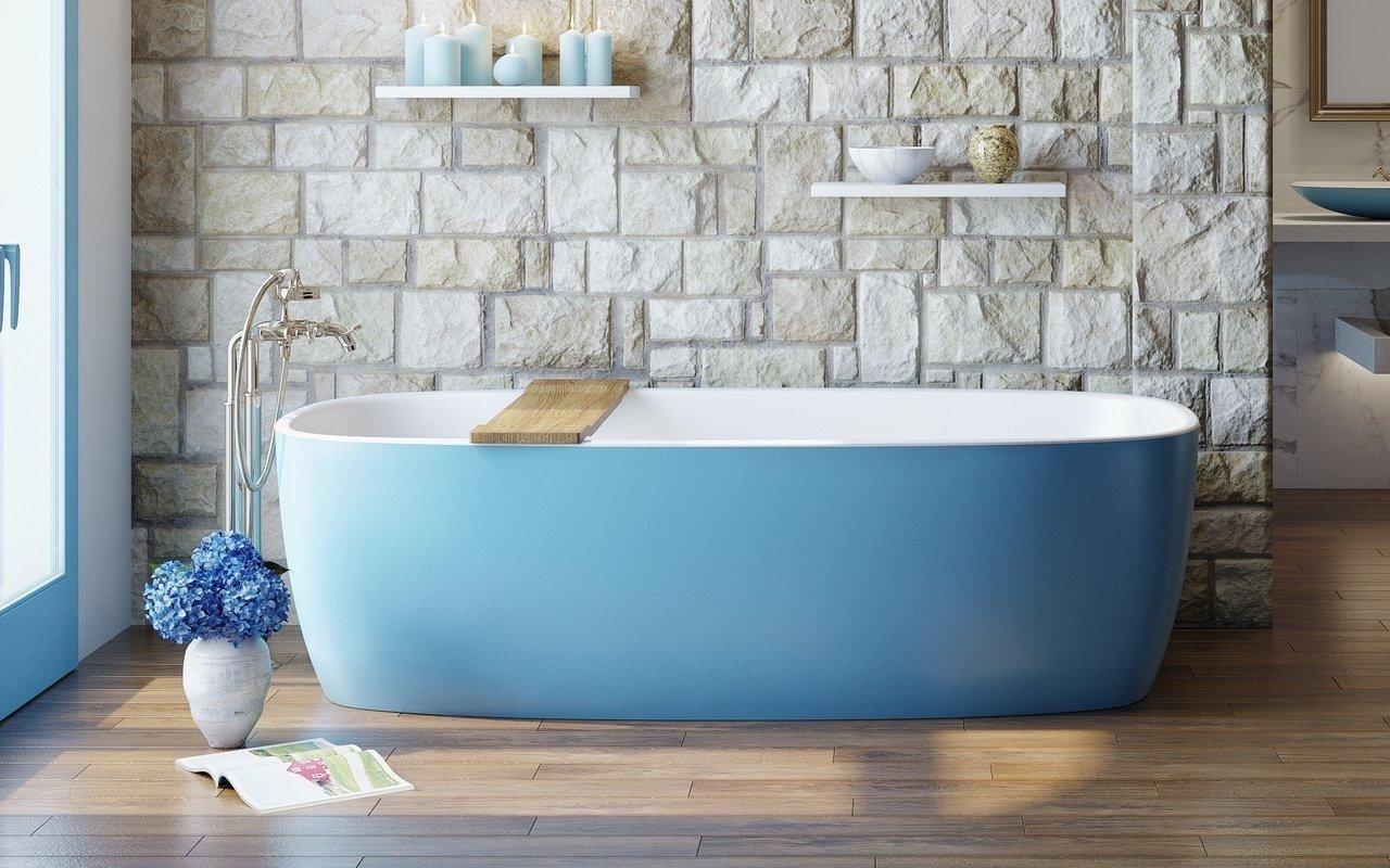 Coletta Jaffa Blue Отдельностоящая Каменная Ванна Бело-голубая picture № 0