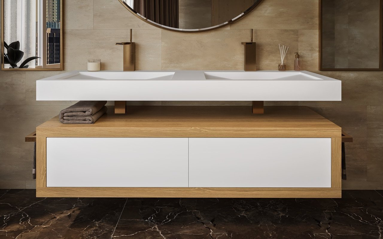 Aquatica Millennium-Wht Stone & Oak Wood Bathroom Vanity picture № 0