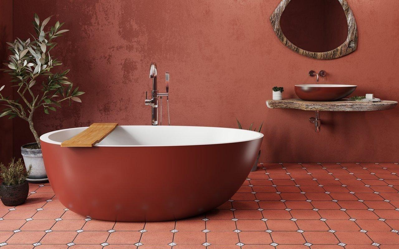 Spoon 2 Oxide Red Отдельностоящая Каменная Ванна Красно-Белая picture № 0