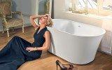 Tulip Wht Freestanding Slipper Solid Surface Bathtub by Aquatica web 0219