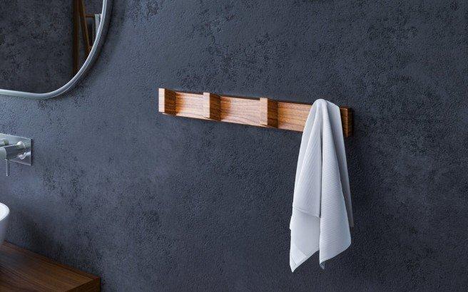 Aquatica Universal 19.75 Waterproof 4 Hook Wall Mounted Iroko Wood Rack 01 (web)