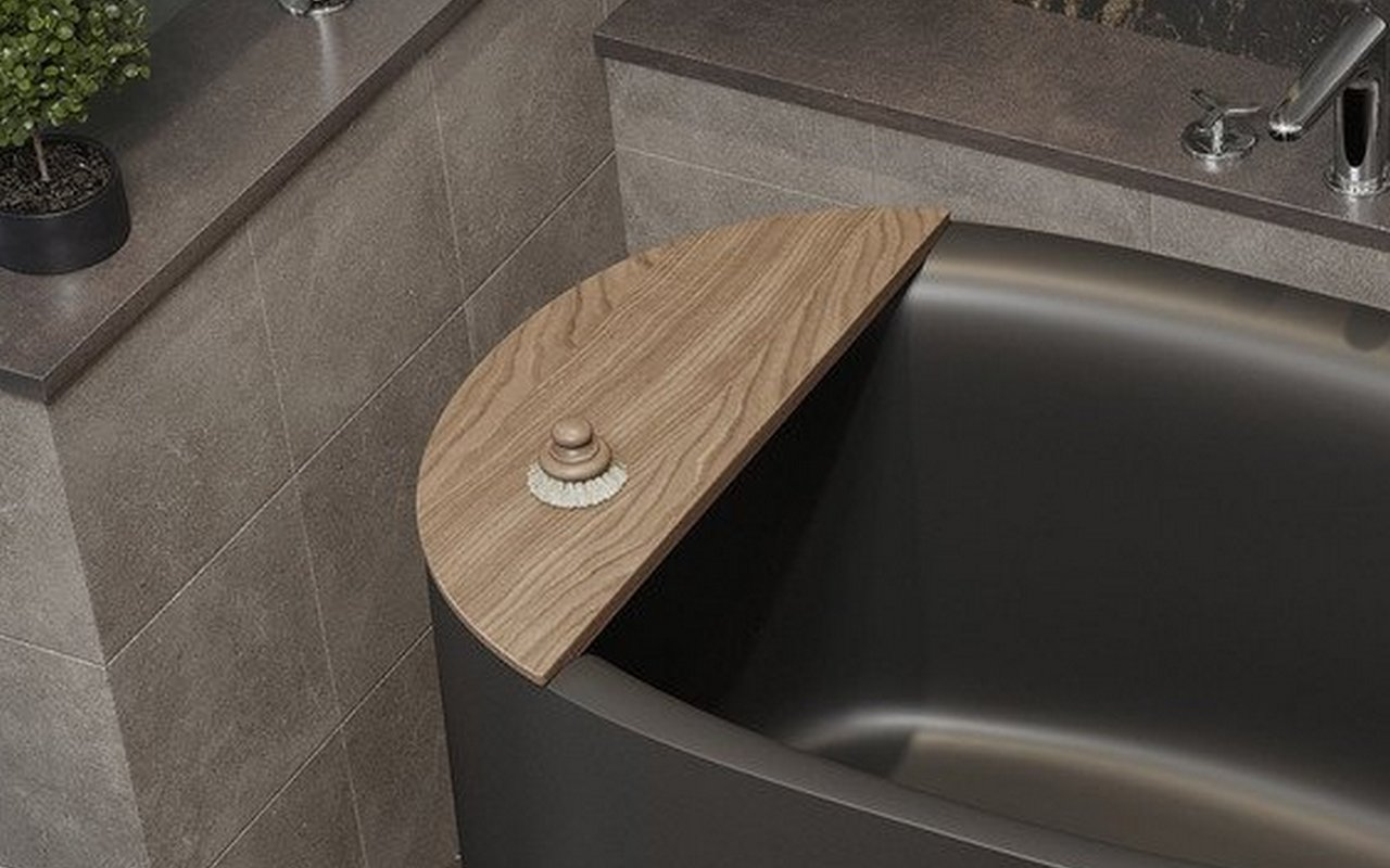 Sophia Black freestanding stone bathtub with table